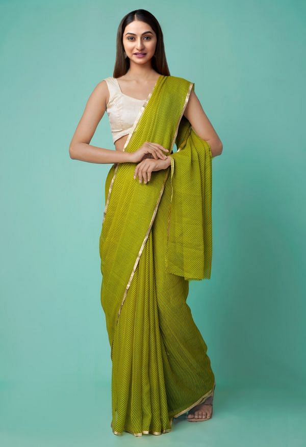 Online Shopping for Green  Chiffon  Saree with Fancy/Ethnic Prints from Punjab at Unnatisilks.comIndia