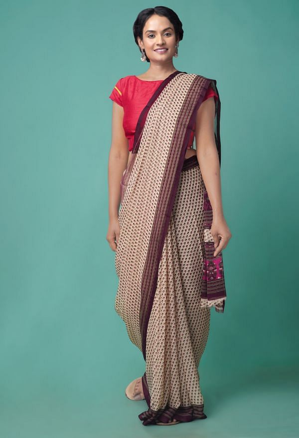 Online Shopping for Brown  Floral Chiffon  Saree with Fancy/Ethnic Prints from Punjab at Unnatisilks.comIndia