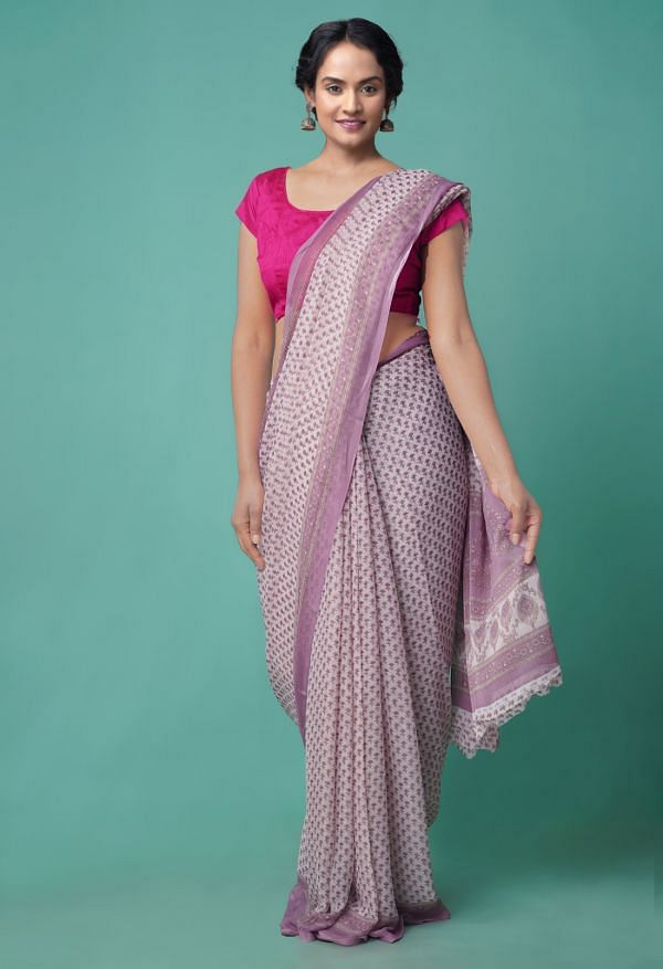 Online Shopping for Ivory  Floral Chiffon  Saree with Fancy/Ethnic Prints from Punjab at Unnatisilks.comIndia