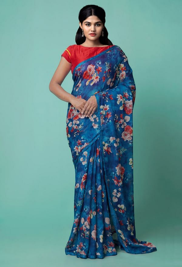 Online Shopping for Blue  Floral Chiffon  Saree with Fancy/Ethnic Prints from Punjab at Unnatisilks.comIndia