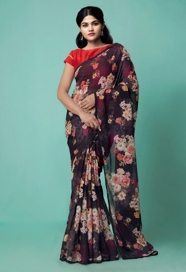Online Shopping for Black  Floral Chiffon  Saree with Fancy/Ethnic Prints from Punjab at Unnatisilks.comIndia