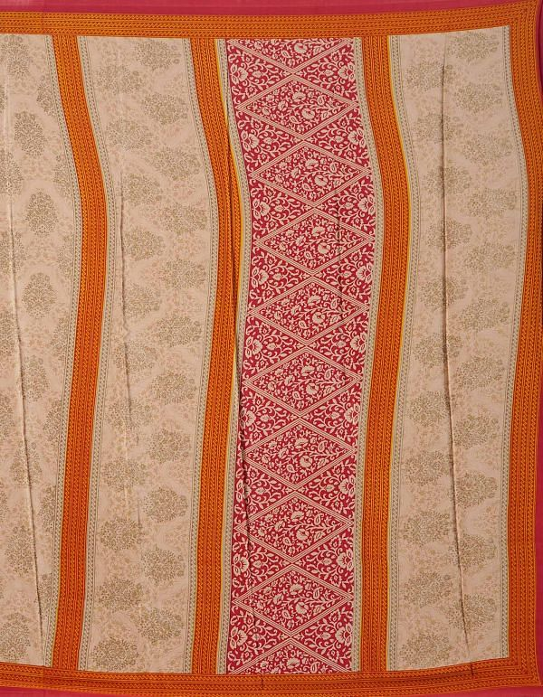 Online Shopping for Brown  Floral Crepe Silk Saree with Fancy/Ethnic Prints from Punjab at Unnatisilks.comIndia
