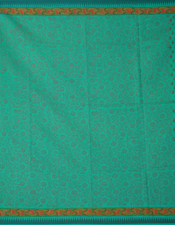 Online Shopping for Green Pure Vrinda Chanderi Sico Saree with Hand Block Prints from Madhya Pradesh at Unnatisilks.comIndia
