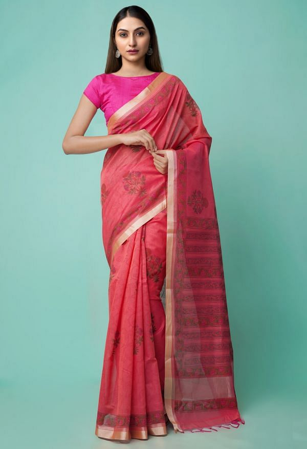 Online Shopping for Red Pure Vrinda Chanderi Sico Saree with Hand Block Prints from Madhya Pradesh at Unnatisilks.comIndia