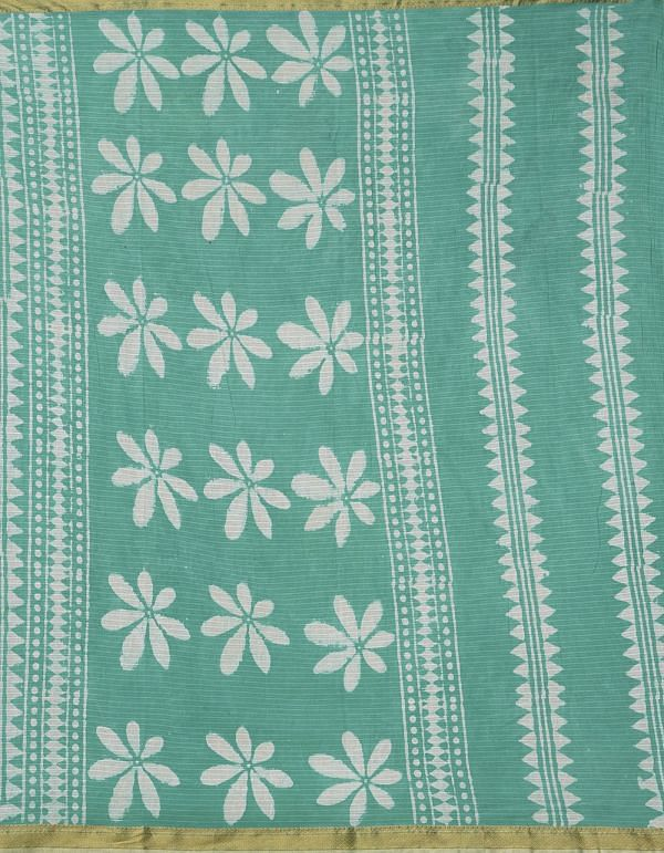 Online Shopping for Green Pure Dabu Printed Mulmul Cotton Saree with Dabu Prints from Rajasthan at Unnatisilks.comIndia