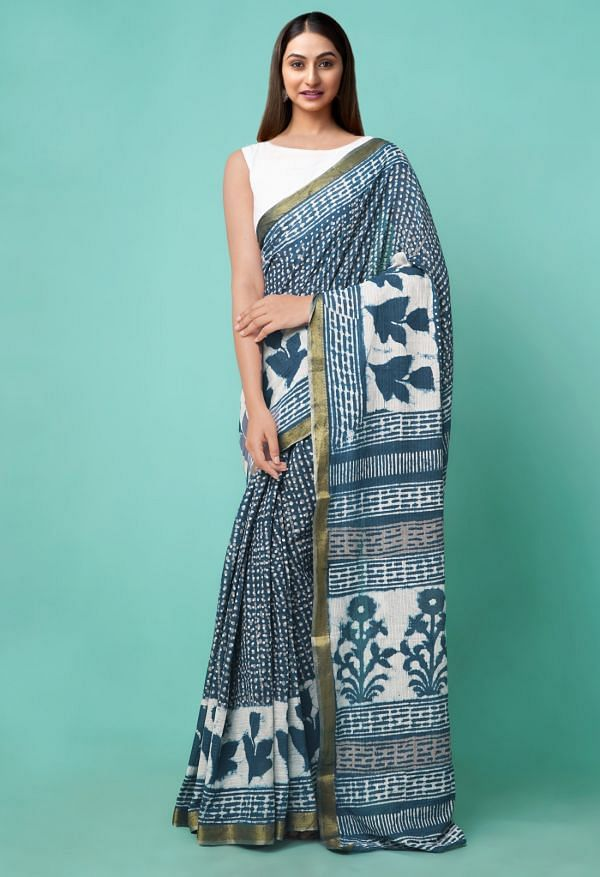 Online Shopping for Indigo Blue Pure Dabu Printed Mulmul Cotton Saree with Dabu Prints from Rajasthan at Unnatisilks.comIndia
