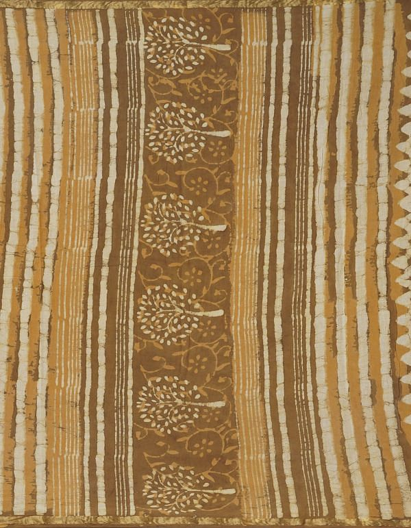 Online Shopping for Brown Pure Dabu Printed Mulmul Cotton Saree with Dabu Prints from Rajasthan at Unnatisilks.comIndia