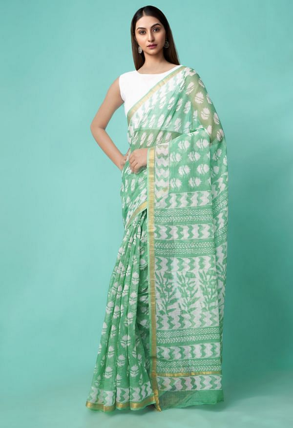 Online Shopping for Green Pure Dabu Printed Kota Cotton Saree with Dabu Prints from Rajasthan at Unnatisilks.comIndia