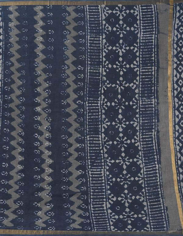 Online Shopping for Indigo Blue Pure Dabu Printed Kota Cotton Saree with Dabu Prints from Rajasthan at Unnatisilks.comIndia