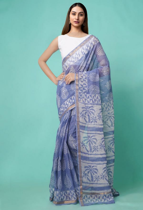 Online Shopping for Violet Pure Dabu Printed Kota Cotton Saree with Dabu Prints from Rajasthan at Unnatisilks.comIndia
