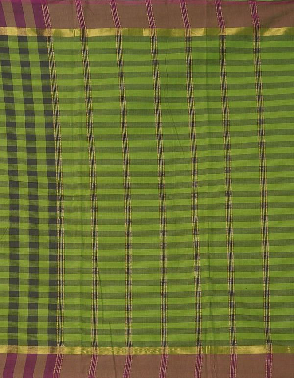 Online Shopping for Green-Brown Pure Mangalagiri Cotton Saree with Checks with Weaving from Andhra Pradesh at Unnatisilks.comIndia