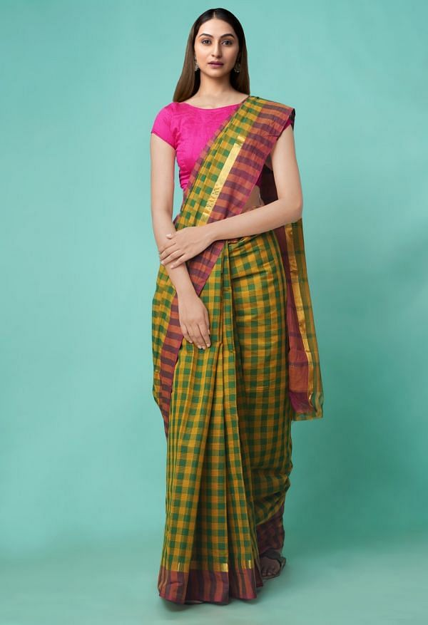 Online Shopping for Green-Yellow Pure Mangalagiri Cotton Saree with Checks with Weaving from Andhra Pradesh at Unnatisilks.comIndia