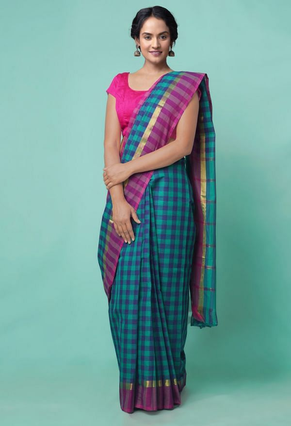 Online Shopping for Green-Blue Pure Mangalagiri Cotton Saree with Checks with Weaving from Andhra Pradesh at Unnatisilks.comIndia
