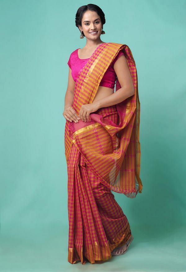 Online Shopping for Pink-Yellow Pure Mangalagiri Cotton Saree with Checks with Weaving from Andhra Pradesh at Unnatisilks.comIndia