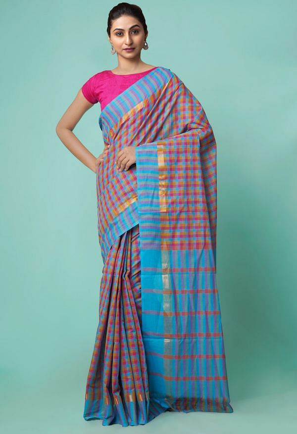 Online Shopping for Multi Pure Mangalagiri Cotton Saree with Checks with Weaving from Andhra Pradesh at Unnatisilks.comIndia