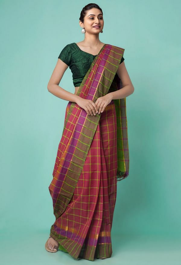 Online Shopping for Maroon Pure Mangalagiri Cotton Saree with Checks with Weaving from Andhra Pradesh at Unnatisilks.comIndia