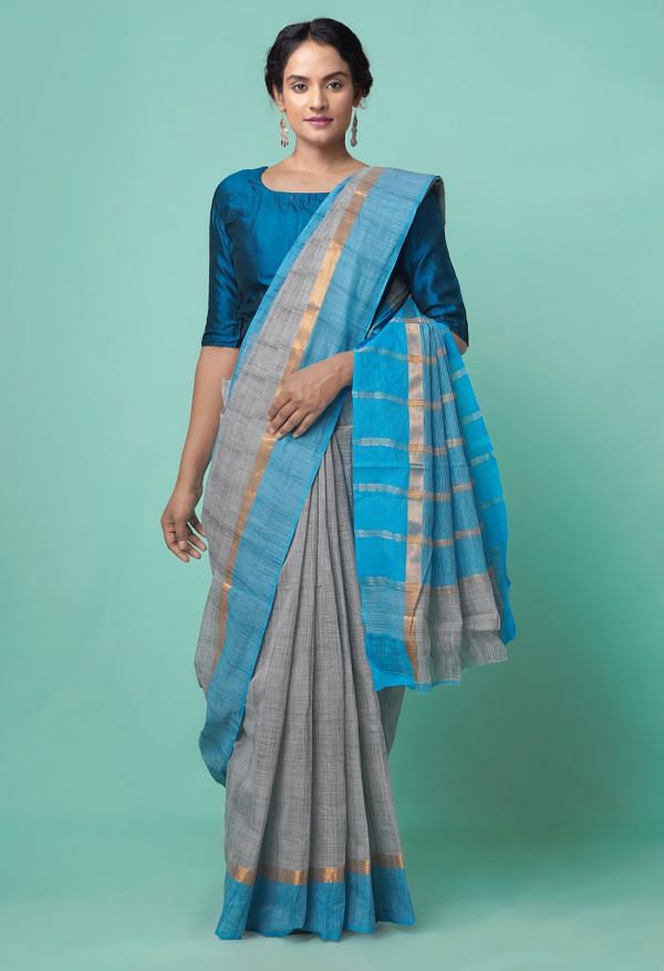 Online Shopping for Grey Pure Mangalagiri Cotton Saree with Weaving from Andhra Pradesh at Unnatisilks.comIndia