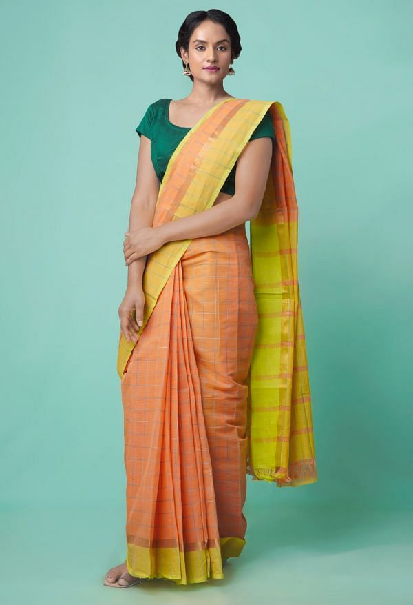 Online Shopping for Orange Pure Mangalagiri Cotton Saree with Checks with Weaving from Andhra Pradesh at Unnatisilks.comIndia