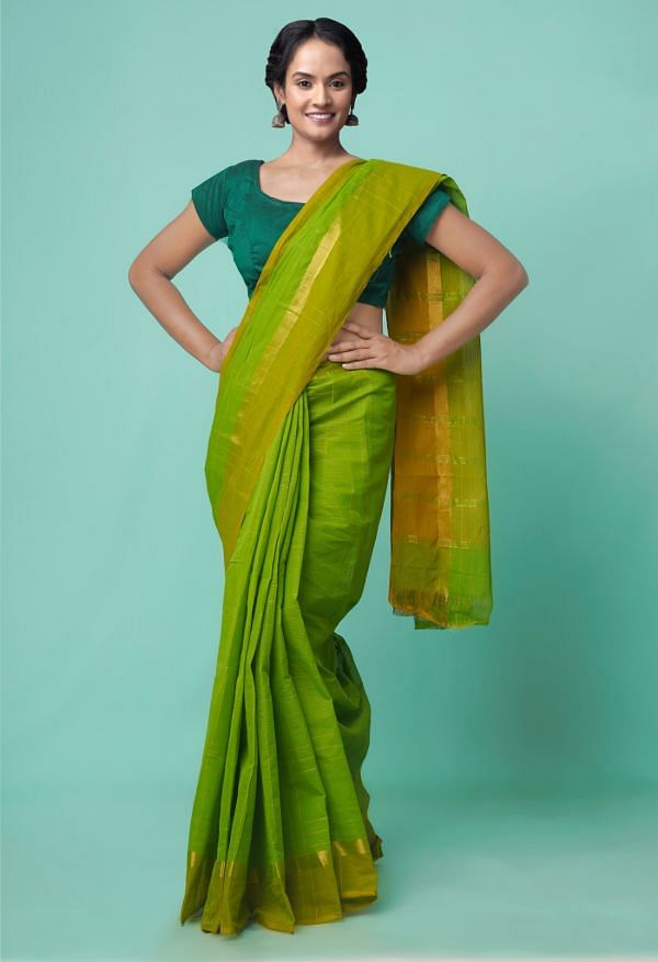 Online Shopping for Green Pure Mangalagiri Cotton Saree with Checks with Weaving from Andhra Pradesh at Unnatisilks.comIndia