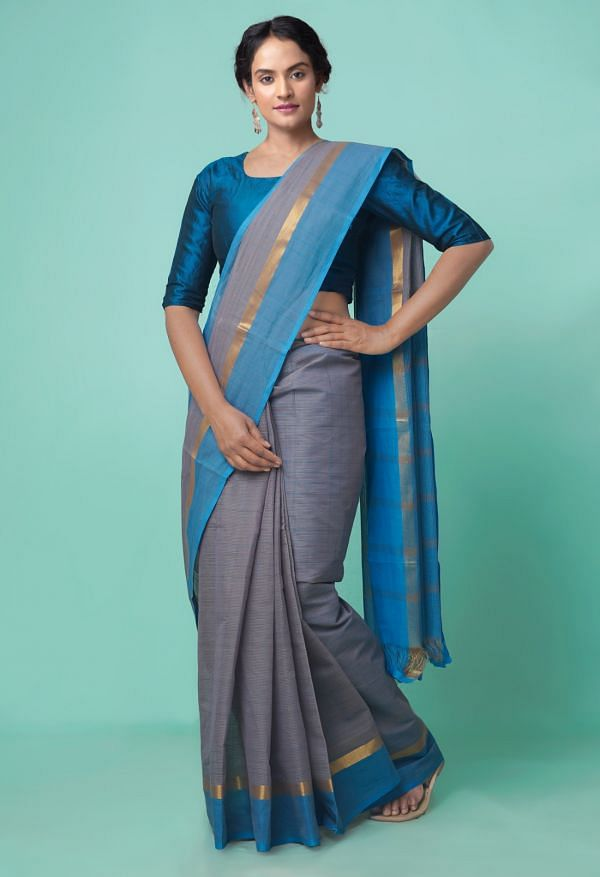 Online Shopping for Grey Pure Mangalagiri Cotton Saree with Checks with Weaving from Andhra Pradesh at Unnatisilks.comIndia