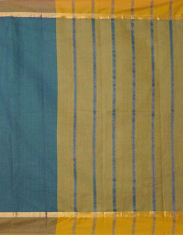 Online Shopping for Teal Green Pure Mangalagiri Cotton Saree with Checks with Weaving from Andhra Pradesh at Unnatisilks.comIndia