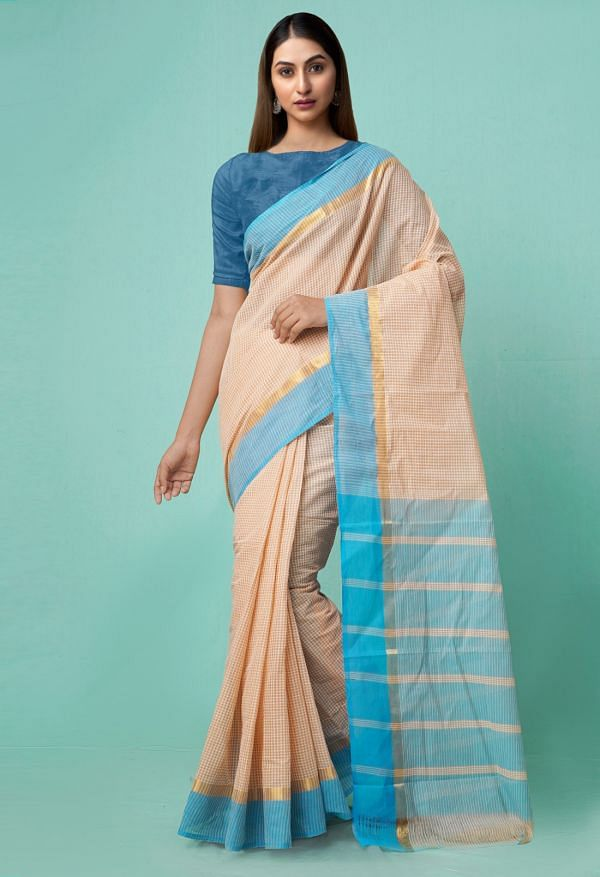 Online Shopping for Brown Pure Mangalagiri Cotton Saree with Checks with Weaving from Andhra Pradesh at Unnatisilks.comIndia