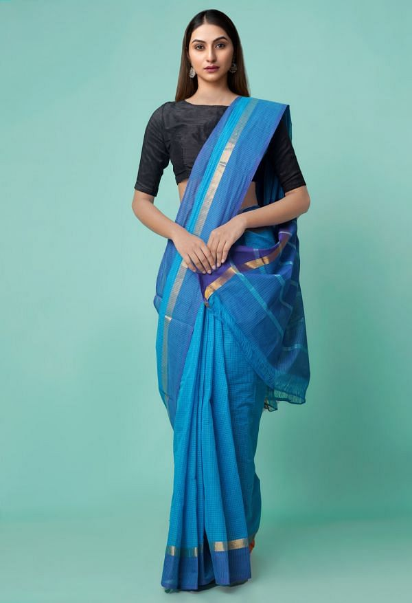 Online Shopping for Blue Pure Mangalagiri Cotton Saree with Checks with Weaving from Andhra Pradesh at Unnatisilks.comIndia