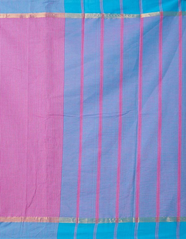 Online Shopping for Pink Pure Mangalagiri Cotton Saree with Checks with Weaving from Andhra Pradesh at Unnatisilks.comIndia
