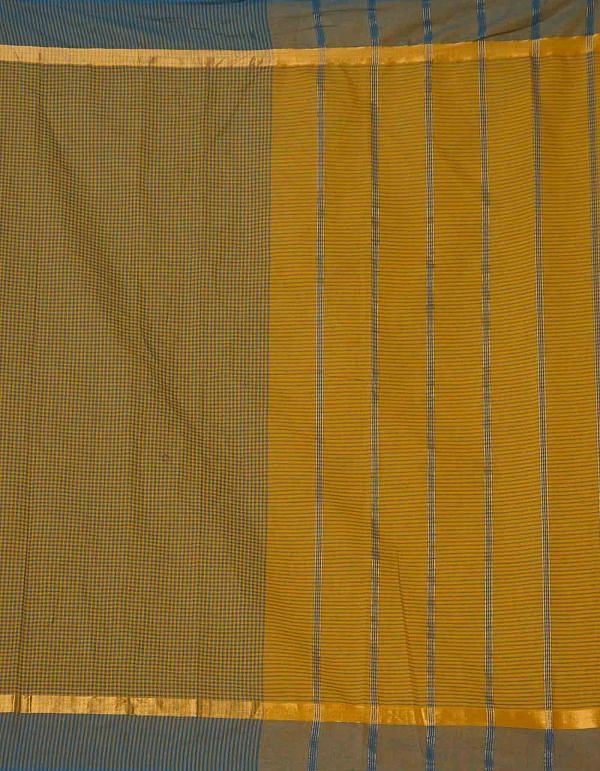 Online Shopping for Yellow-Green Pure Mangalagiri Cotton Saree with Checks with Weaving from Andhra Pradesh at Unnatisilks.comIndia