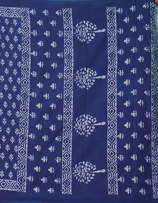 Online Shopping for Indigo Blue Pure Mulmul Cotton Saree with Hand Block Prints from Rajasthan at Unnatisilks.comIndia