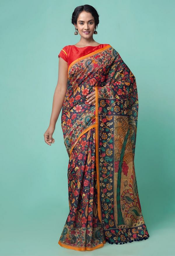 Online Shopping for Black  Kalamkari Chanderi Sico Saree with Kalamkari from Madhya Pradesh at Unnatisilks.comIndia