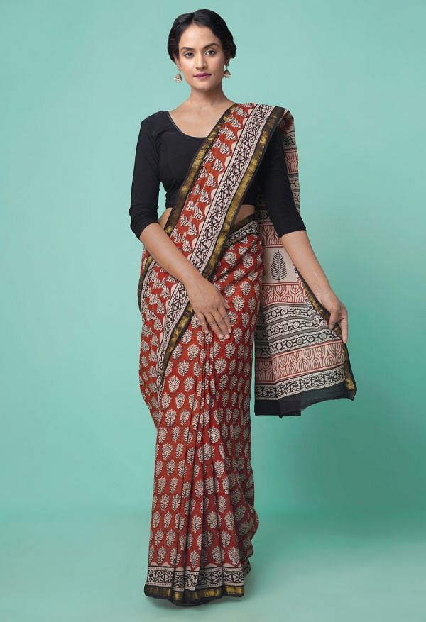 Online Shopping for Red Pure Bagru Printed Mulmul Cotton Saree with Bagru  from Rajasthan at Unnatisilks.comIndia