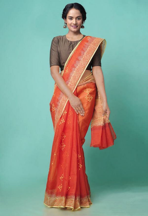 Online Shopping for Orange Pure Hand Block Printed Kota Cotton Saree with Hand Block Prints from Rajasthan at Unnatisilks.comIndia