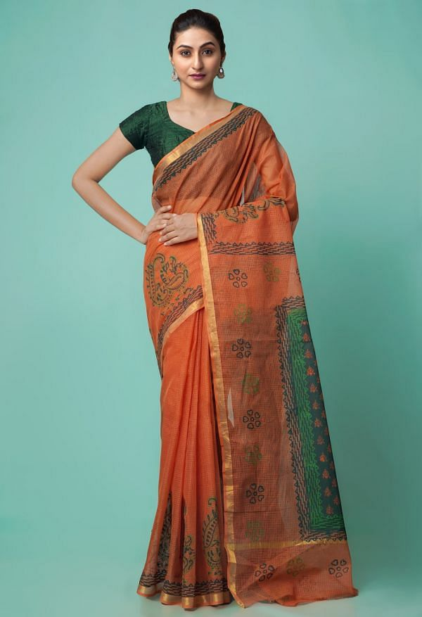 Online Shopping for Rust Orange Pure Hand Block Printed Kota Cotton Saree with Hand Block Prints from Rajasthan at Unnatisilks.comIndia