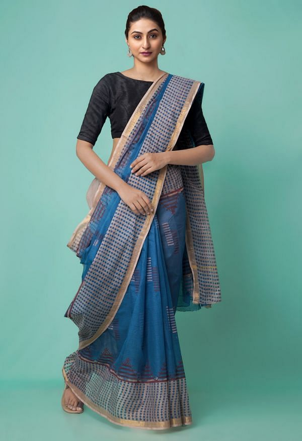 Online Shopping for Teal Blue Pure Hand Block Printed Kota Cotton Saree with Hand Block Prints from Rajasthan at Unnatisilks.comIndia