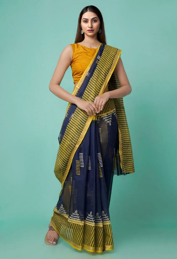 Online Shopping for Navy Blue Pure Hand Block Printed Kota Cotton Saree with Hand Block Prints from Rajasthan at Unnatisilks.comIndia