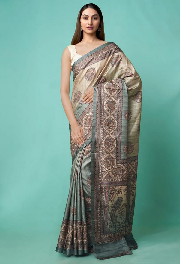 Online Shopping for Brown-Green  Digital Printed Crepe Silk Saree with Fancy/Ethnic Prints from Punjab at Unnatisilks.comIndia