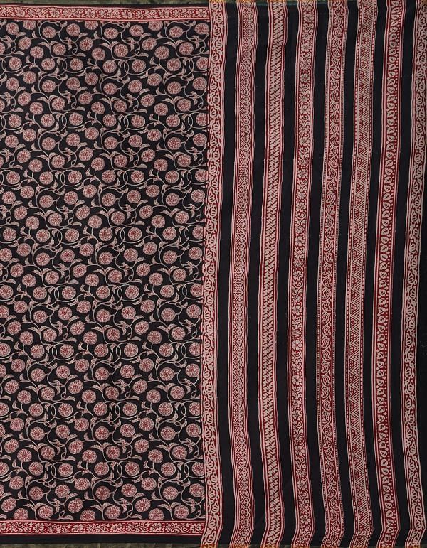 Online Shopping for Black Pure Bagru Printed Cotton  Saree with Bagru from Rajasthan at Unnatisilks.comIndia