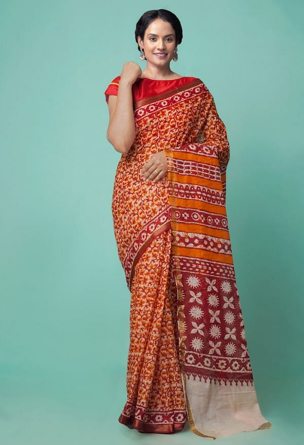 Online Shopping for Beige-Red Pure Bagru Printed Cotton  Saree with Batik from Rajasthan at Unnatisilks.comIndia