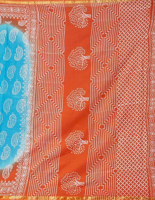 Online Shopping for Turquoise Blue-Red Pure Hand Block Printed Mulmul Cotton Saree with Hand Block Prints from Rajasthan at Unnatisilks.comIndia