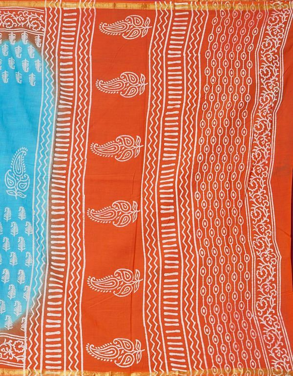 Online Shopping for Blue-Red Pure Hand Block Printed Mulmul Cotton Saree with Hand Block Prints from Rajasthan at Unnatisilks.comIndia