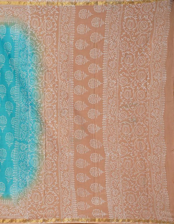 Online Shopping for Turquoise Blue Pure Hand Block Printed Mulmul Cotton Saree with Hand Block Prints from Rajasthan at Unnatisilks.comIndia
