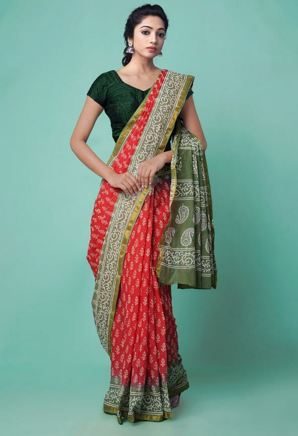 Online Shopping for Red Pure Hand Block Printed Mulmul Cotton Saree with Hand Block Prints from Rajasthan at Unnatisilks.comIndia