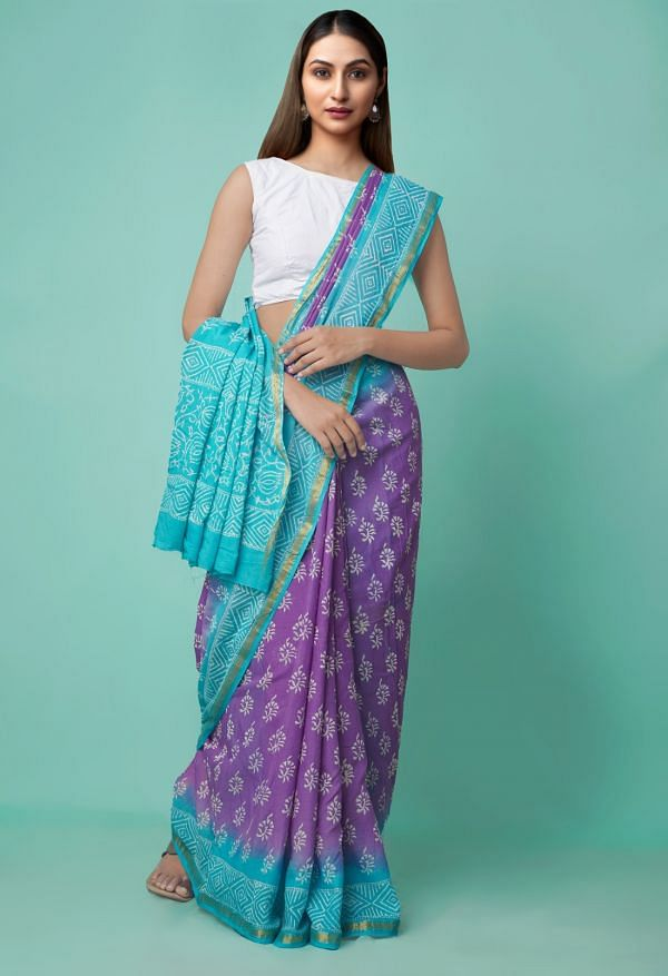 Online Shopping for Violet Pure Hand Block Printed Mulmul Cotton Saree with Hand Block Prints from Rajasthan at Unnatisilks.comIndia