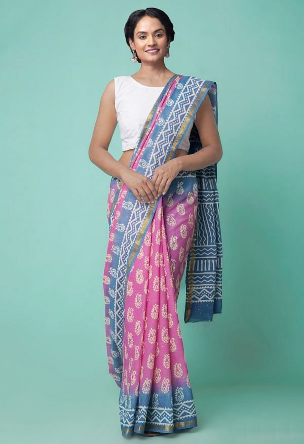Online Shopping for Pink-Blue Pure Hand Block Printed Mulmul Cotton Saree with Hand Block Prints from Rajasthan at Unnatisilks.comIndia