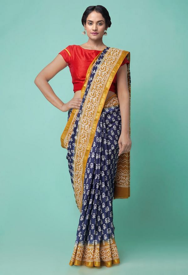 Online Shopping for Blue Pure Hand Block Printed Mulmul Cotton Saree with Hand Block Prints from Rajasthan at Unnatisilks.comIndia
