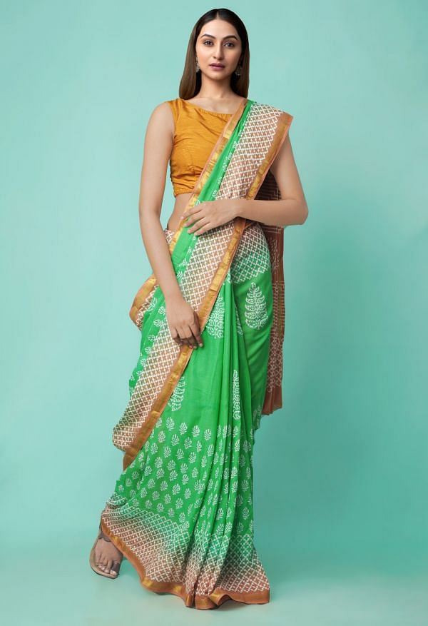 Online Shopping for Green Pure Hand Block Printed Mulmul Cotton Saree with Hand Block Prints from Rajasthan at Unnatisilks.comIndia