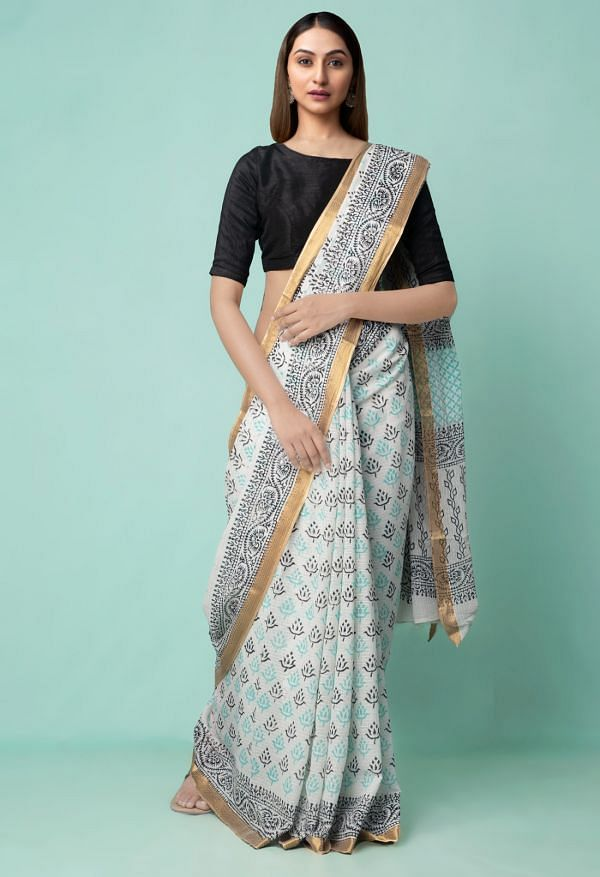Online Shopping for White Pure Hand Block Printed Mulmul Cotton Saree with Hand Block Prints from Rajasthan at Unnatisilks.comIndia