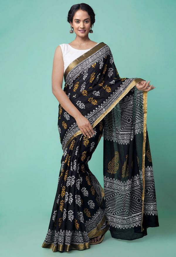 Online Shopping for Black Pure Hand Block Printed Mulmul Cotton Saree with Hand Block Prints from Rajasthan at Unnatisilks.comIndia
