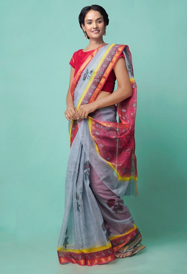Online Shopping for Grey Pure Hand Block Printed Kota Cotton Saree with Hand Block Prints from Rajasthan at Unnatisilks.comIndia